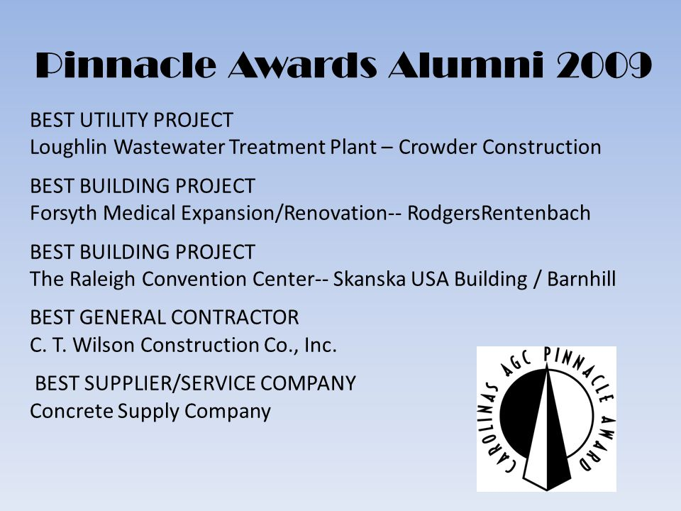 Pinnacle Awards Alumni 2009 BEST UTILITY PROJECT Loughlin Wastewater Treatment Plant – Crowder Construction BEST BUILDING PROJECT Forsyth Medical Expansion/Renovation-- RodgersRentenbach BEST BUILDING PROJECT The Raleigh Convention Center-- Skanska USA Building / Barnhill BEST GENERAL CONTRACTOR C.