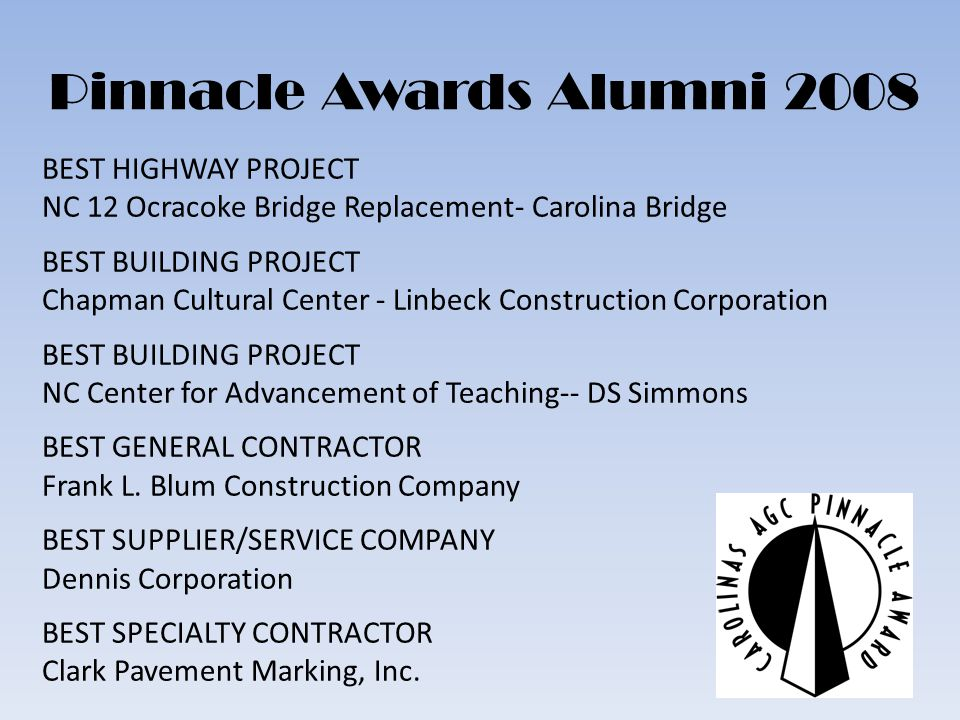 Pinnacle Awards Alumni 2008 BEST HIGHWAY PROJECT NC 12 Ocracoke Bridge Replacement- Carolina Bridge BEST BUILDING PROJECT Chapman Cultural Center - Linbeck Construction Corporation BEST BUILDING PROJECT NC Center for Advancement of Teaching-- DS Simmons BEST GENERAL CONTRACTOR Frank L.