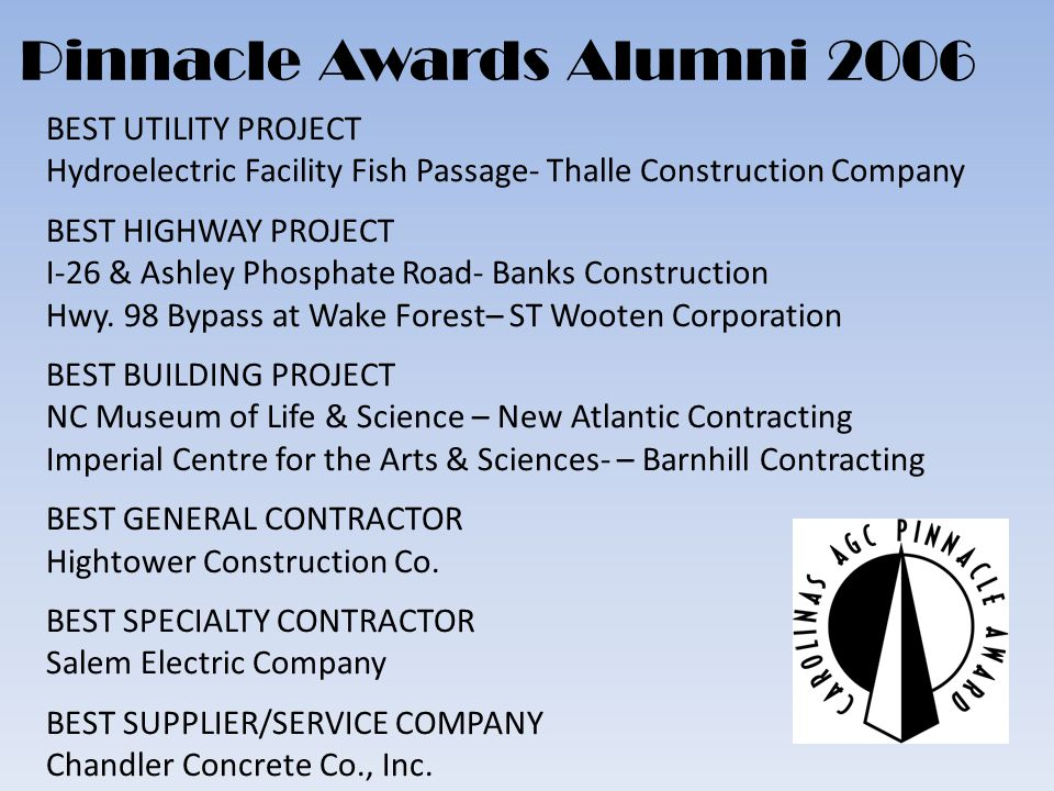 BEST UTILITY PROJECT Hydroelectric Facility Fish Passage- Thalle Construction Company BEST HIGHWAY PROJECT I-26 & Ashley Phosphate Road- Banks Construction Hwy.