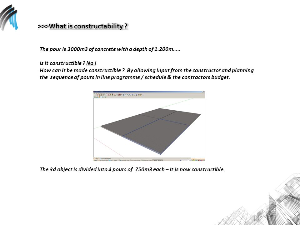 >>>What is constructability . The pour is 3000m3 of concrete with a depth of 1.200m…..