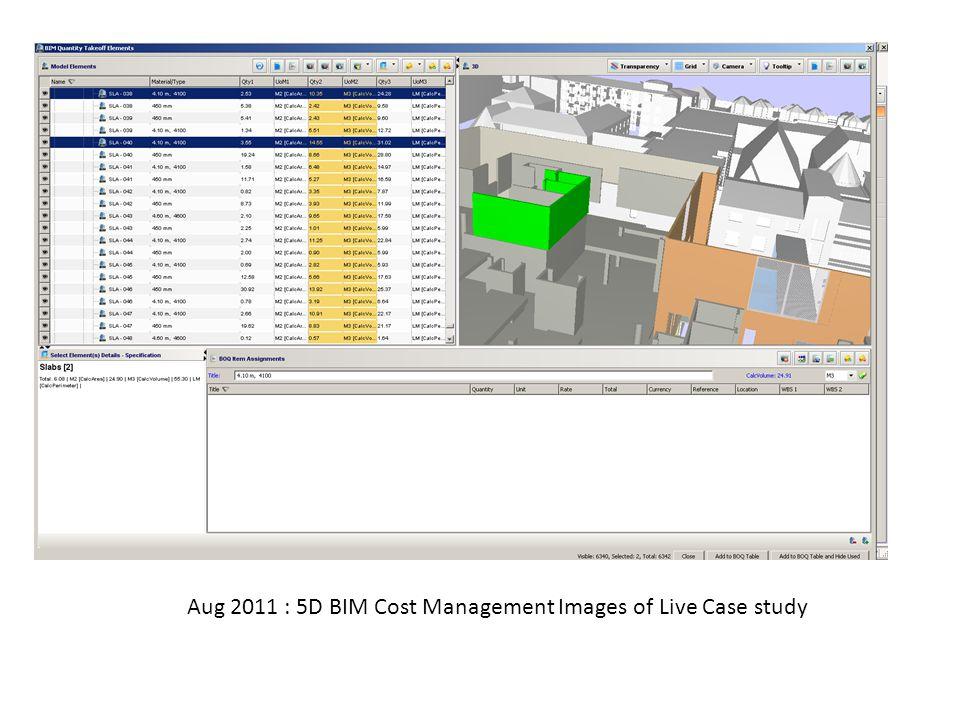 Aug 2011 : 5D BIM Cost Management Images of Live Case study