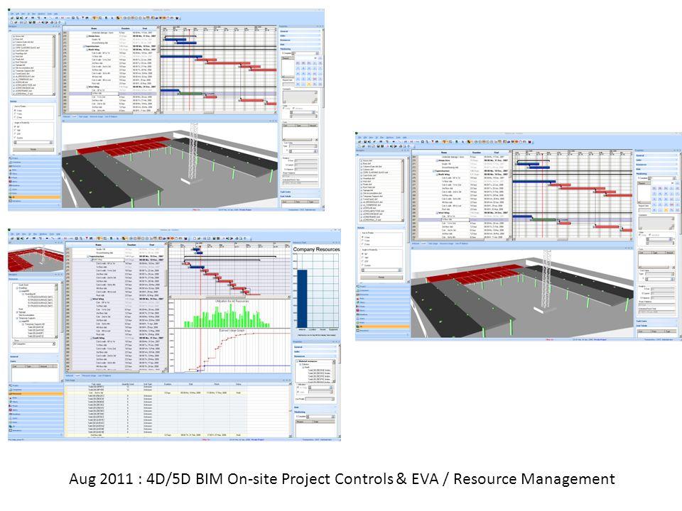Aug 2011 : 4D/5D BIM On-site Project Controls & EVA / Resource Management