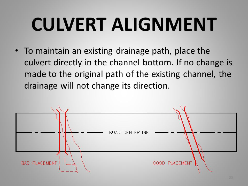 CULVERT ALIGNMENT To maintain an existing drainage path, place the culvert directly in the channel bottom. If no change is made to the original path o