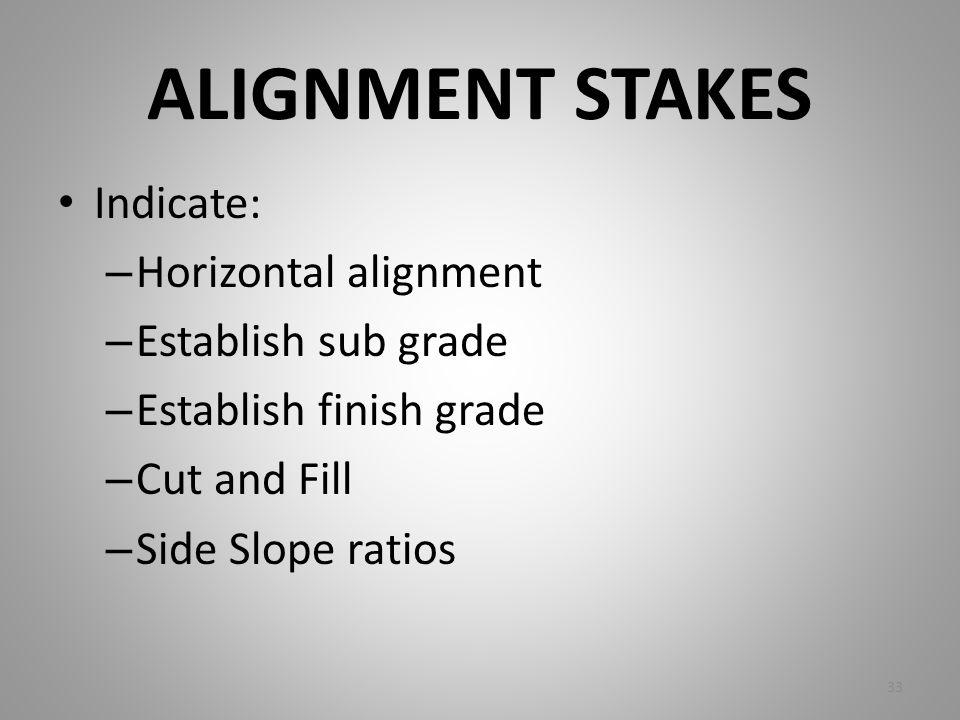ALIGNMENT STAKES Indicate: – Horizontal alignment – Establish sub grade – Establish finish grade – Cut and Fill – Side Slope ratios 33