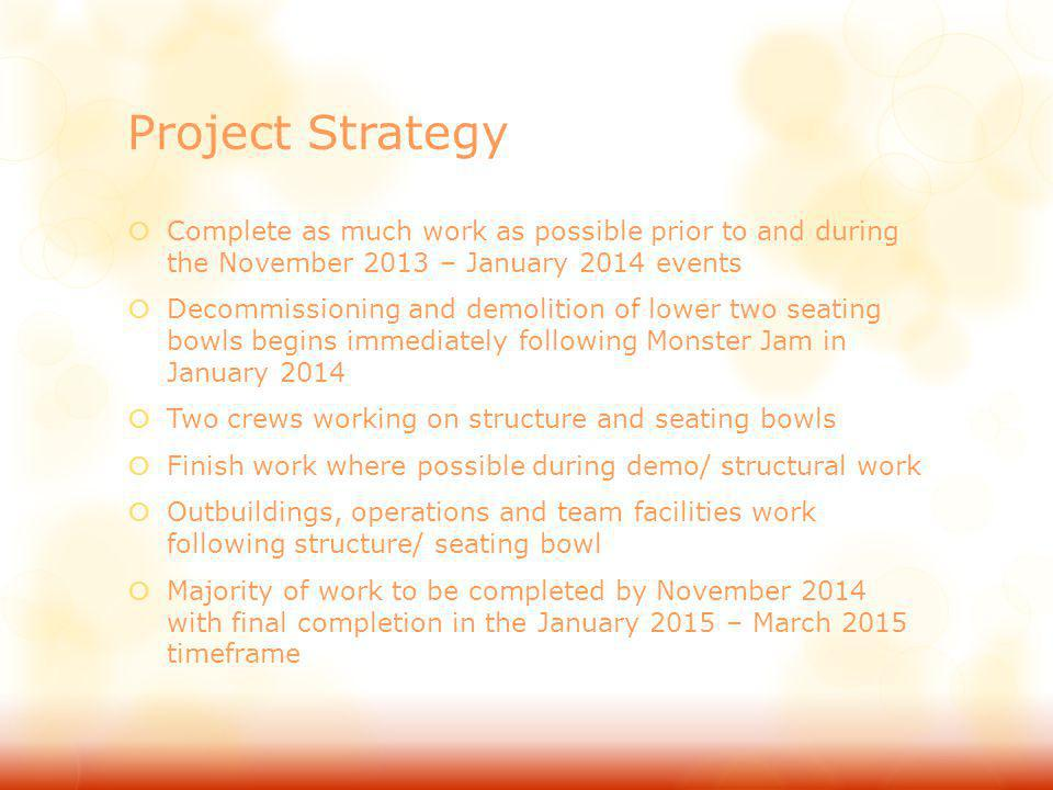 Project Strategy Complete as much work as possible prior to and during the November 2013 – January 2014 events Decommissioning and demolition of lower