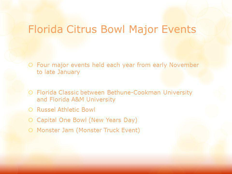 Florida Citrus Bowl Major Events Four major events held each year from early November to late January Florida Classic between Bethune-Cookman Universi