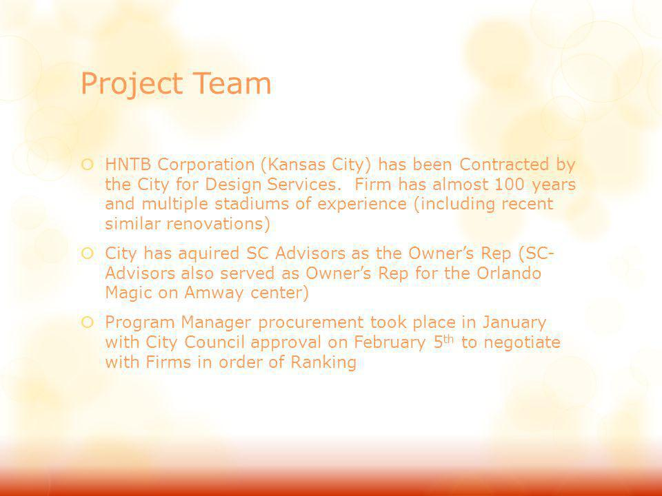 Project Team (Continued) Construction Manager Procurement will consist of a two- part RFQ/ RFP Process (similar to Amway and DPAC Projects) RFQ/ RFP will be advertised on February 24 th and available for download on February 25 th RFQ will be due in let March with shortlisting shortly following Rankings are projected to be presented to City Council on May 5th