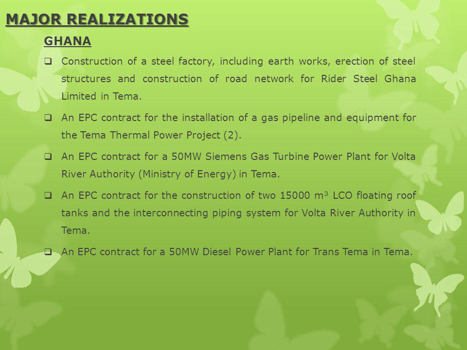 MAJOR REALIZATIONS GHANA Construction of a steel factory, including earth works, erection of steel structures and construction of road network for Rider Steel Ghana Limited in Tema.