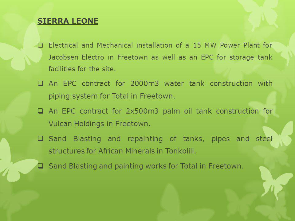 SIERRA LEONE Electrical and Mechanical installation of a 15 MW Power Plant for Jacobsen Electro in Freetown as well as an EPC for storage tank facilities for the site.
