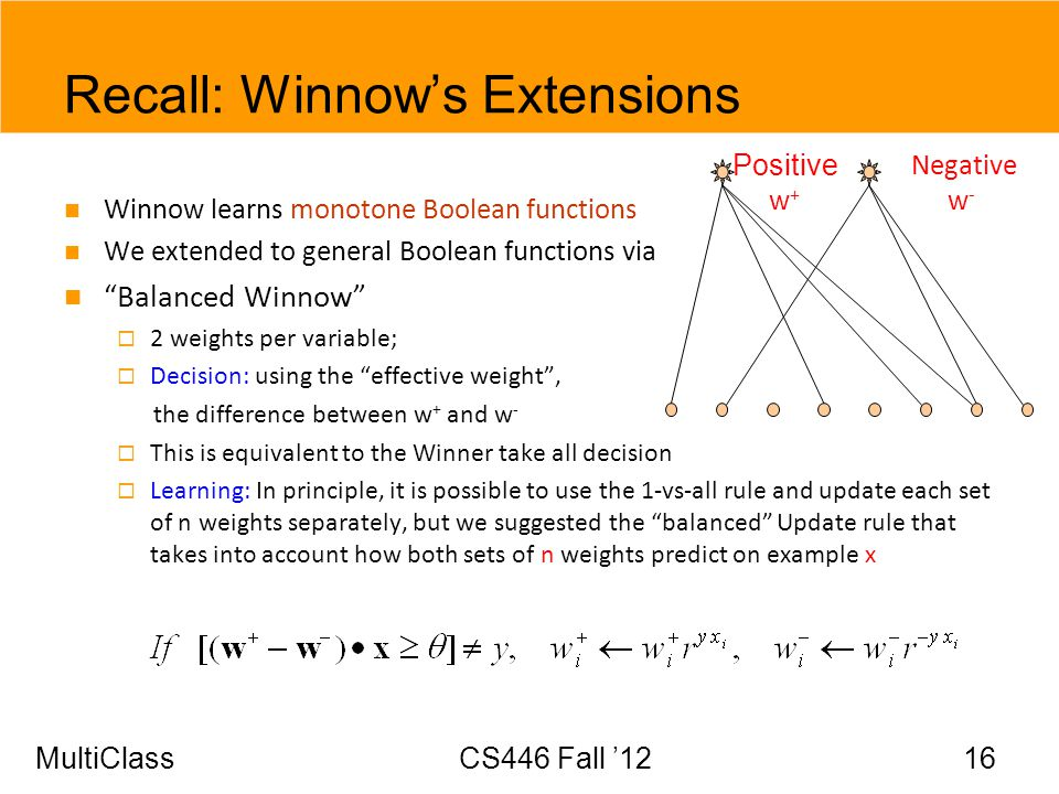 MultiClassCS446 Fall 12 16 Recall: Winnows Extensions Winnow learns monotone Boolean functions We extended to general Boolean functions via Balanced W
