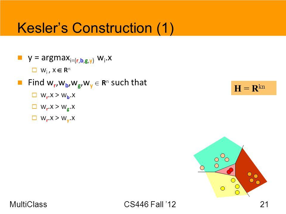 MultiClassCS446 Fall 12 21 Keslers Construction (1) y = argmax i=(r,b,g,y) w i.x w i, x R n Find w r,w b,w g,w y R n such that w r.x > w b.x w r.x > w
