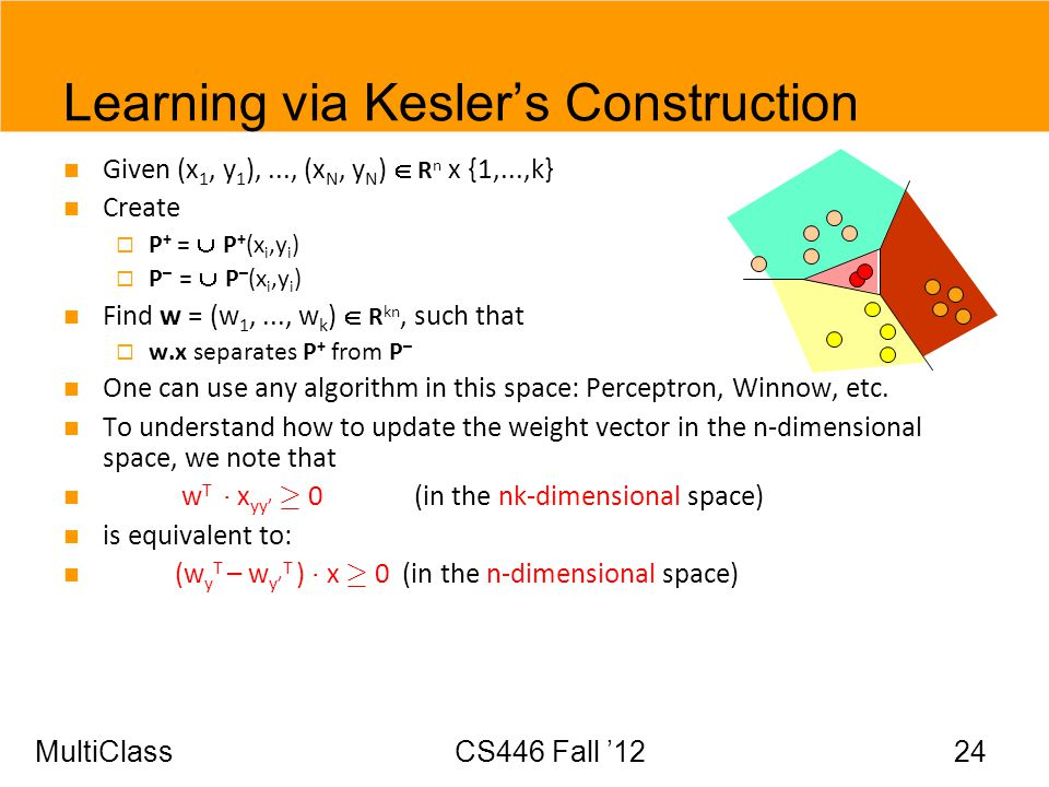 MultiClassCS446 Fall 12 24 Learning via Keslers Construction Given (x 1, y 1 ),..., (x N, y N ) R n x {1,...,k} Create P + = P + (x i,y i ) P – = P –
