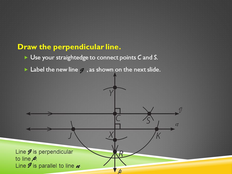Draw the perpendicular line. Use your straightedge to connect points C and S. Label the new line, as shown on the next slide. Line is perpendicular to