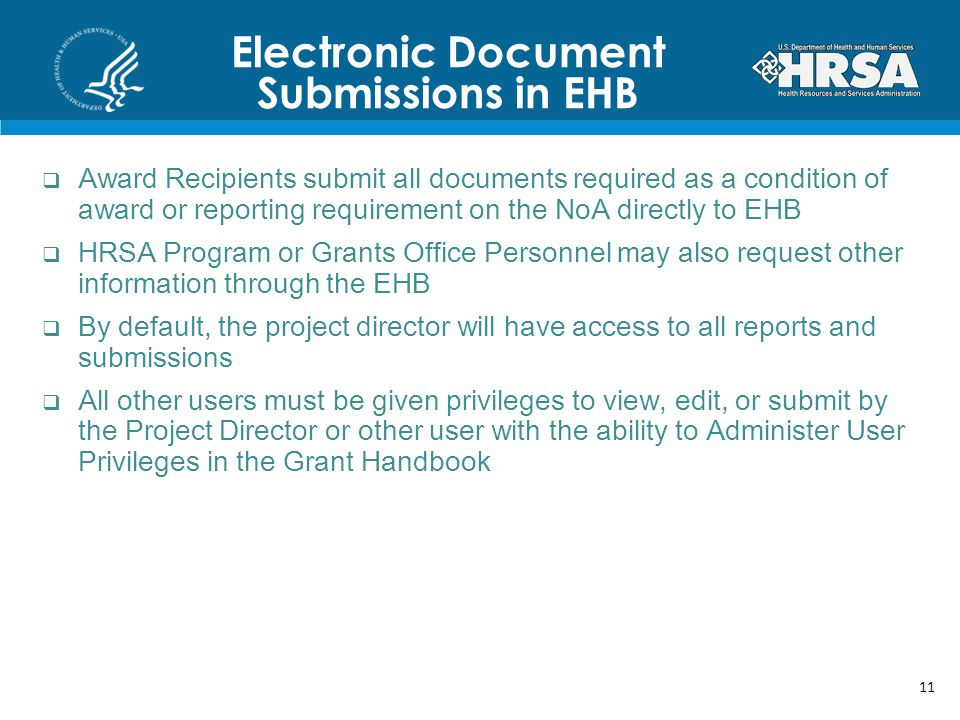 Electronic Document Submissions in EHB Award Recipients submit all documents required as a condition of award or reporting requirement on the NoA directly to EHB HRSA Program or Grants Office Personnel may also request other information through the EHB By default, the project director will have access to all reports and submissions All other users must be given privileges to view, edit, or submit by the Project Director or other user with the ability to Administer User Privileges in the Grant Handbook 11
