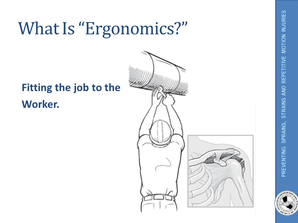 What Is Ergonomics? Fitting the job to the Worker. Illustration Source: Simple Solutions, NIOSH