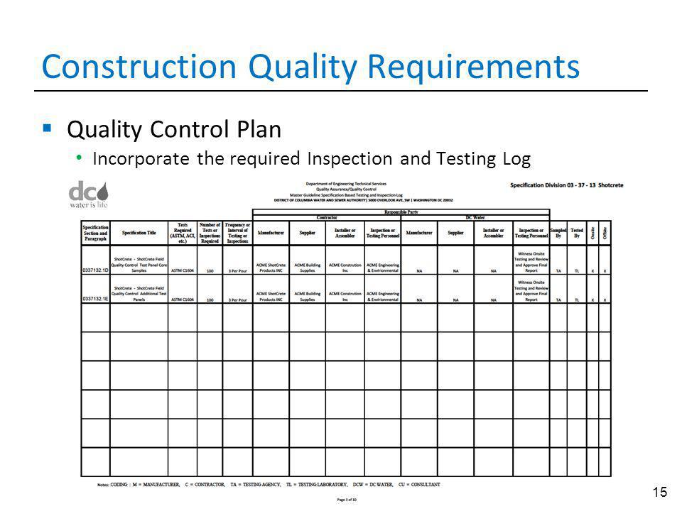 15 Construction Quality Requirements Quality Control Plan Incorporate the required Inspection and Testing Log