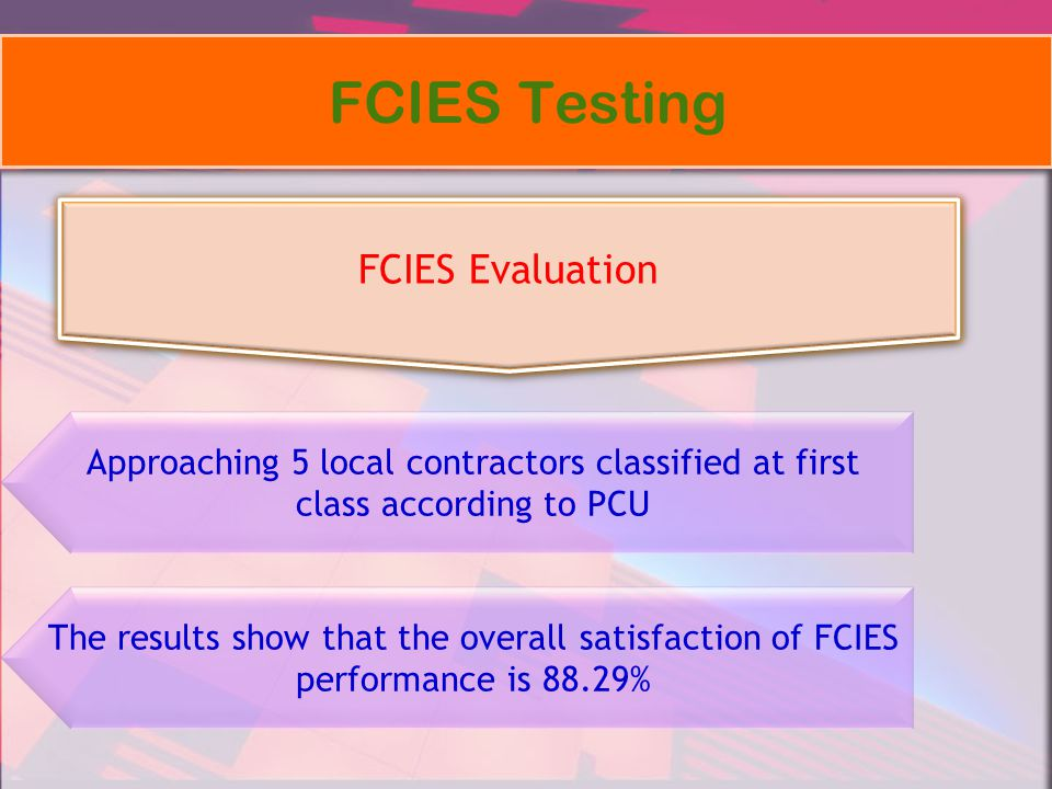 FCIES Testing FCIES Evaluation Approaching 5 local contractors classified at first class according to PCU The results show that the overall satisfacti