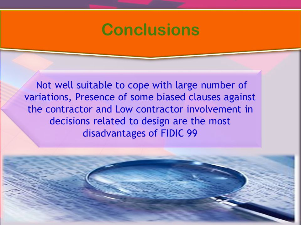 Not well suitable to cope with large number of variations, Presence of some biased clauses against the contractor and Low contractor involvement in de