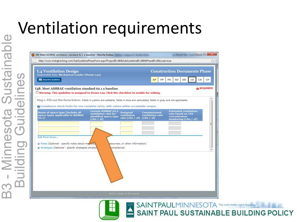 SAINT PAUL SUSTAINABLE BUILDING POLICY B3 - Minnesota Sustainable Building Guidelines Ventilation requirements