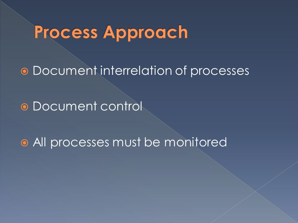 Document interrelation of processes Document control All processes must be monitored