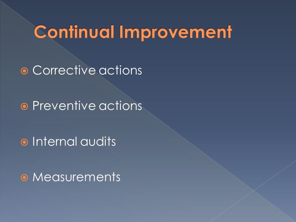 Corrective actions Preventive actions Internal audits Measurements