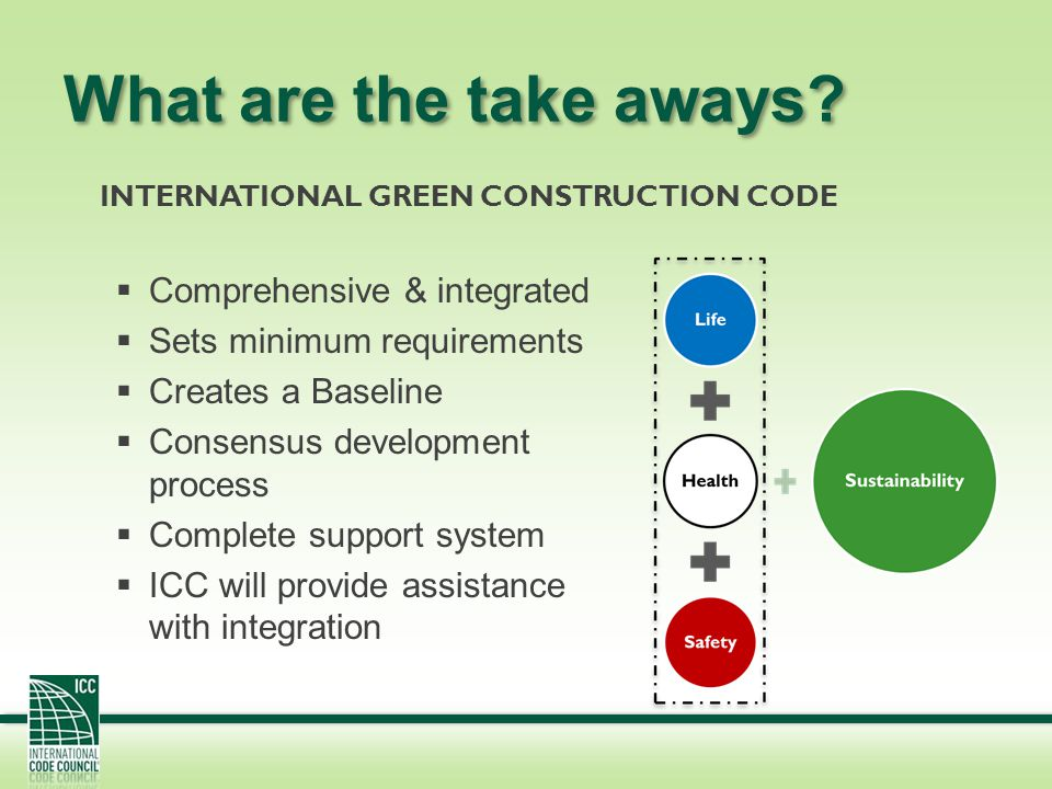 What are the take aways? Comprehensive & integrated Sets minimum requirements Creates a Baseline Consensus development process Complete support system
