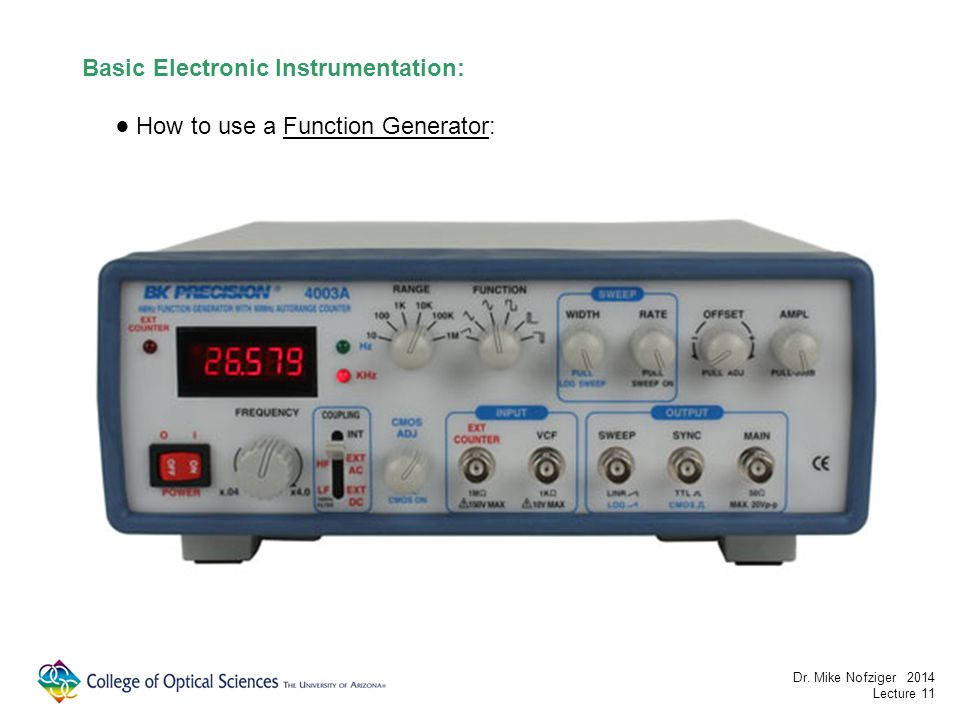 Basic Electronic Instrumentation: How to use a Function Generator: Dr.