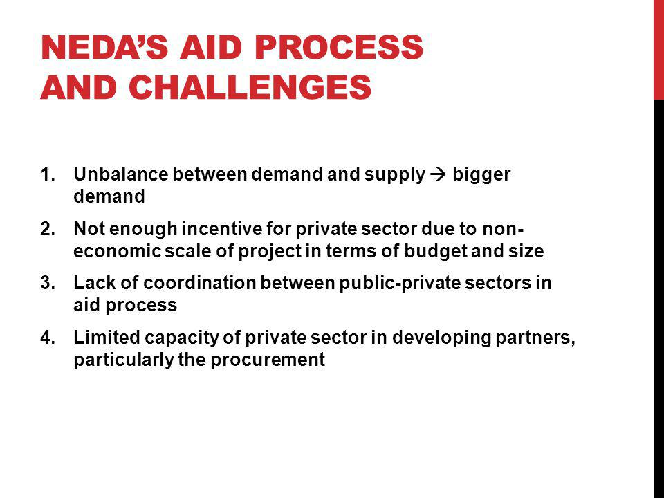 NEDAS AID PROCESS AND CHALLENGES 1.Unbalance between demand and supply bigger demand 2.Not enough incentive for private sector due to non- economic scale of project in terms of budget and size 3.Lack of coordination between public-private sectors in aid process 4.Limited capacity of private sector in developing partners, particularly the procurement