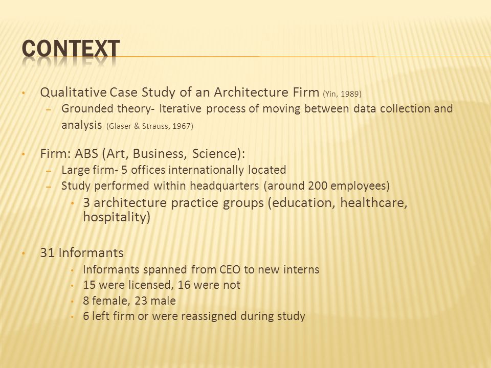 Qualitative Case Study of an Architecture Firm (Yin, 1989) – Grounded theory- Iterative process of moving between data collection and analysis (Glaser