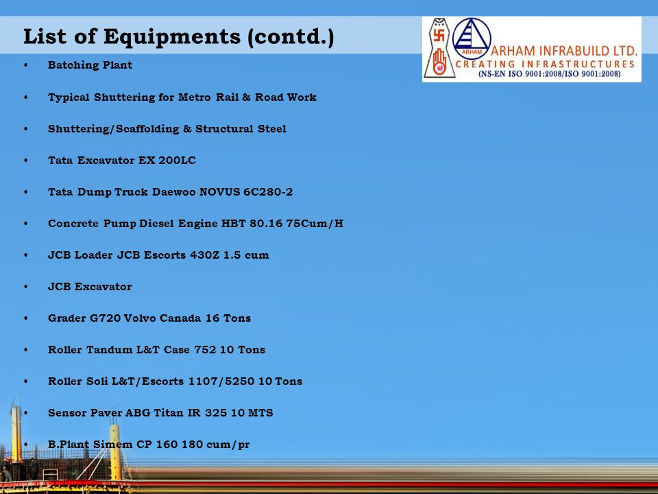 List of Equipments (contd.) Batching Plant Typical Shuttering for Metro Rail & Road Work Shuttering/Scaffolding & Structural Steel Tata Excavator EX 2