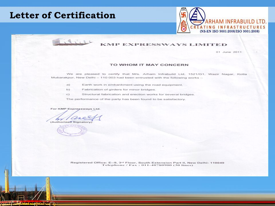 Letter of Certification