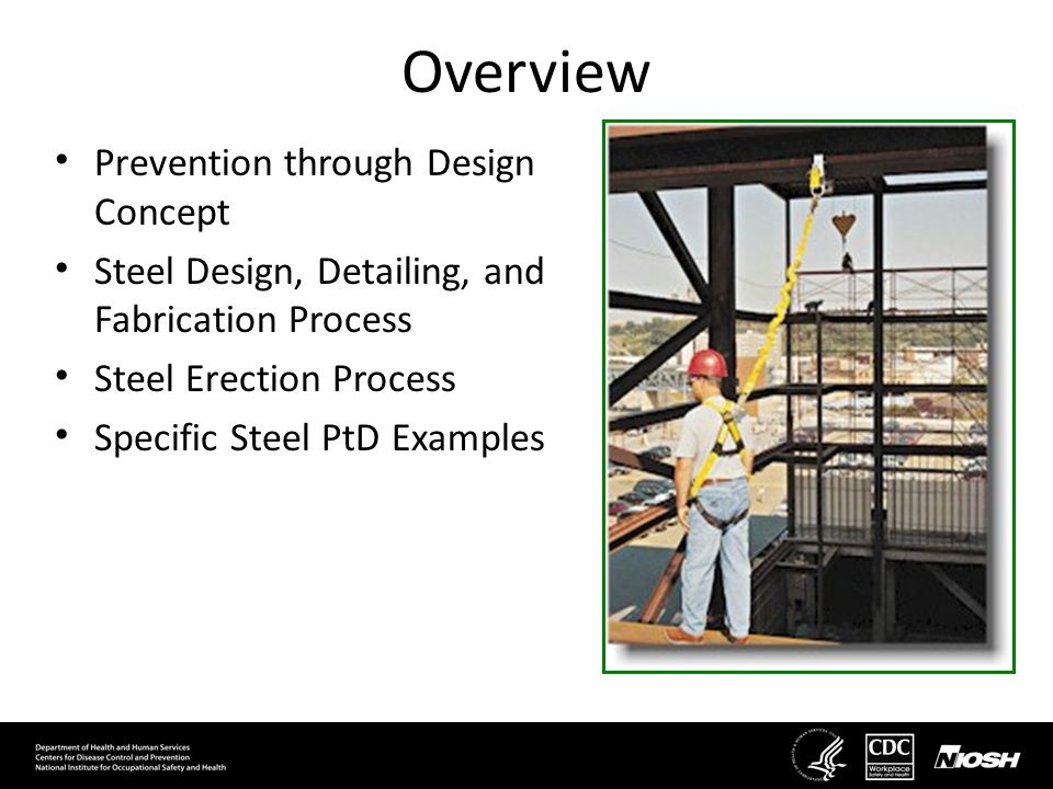 Prevention through Design Concept Steel Design, Detailing, and Fabrication Process Steel Erection Process Specific Steel PtD Examples Overview