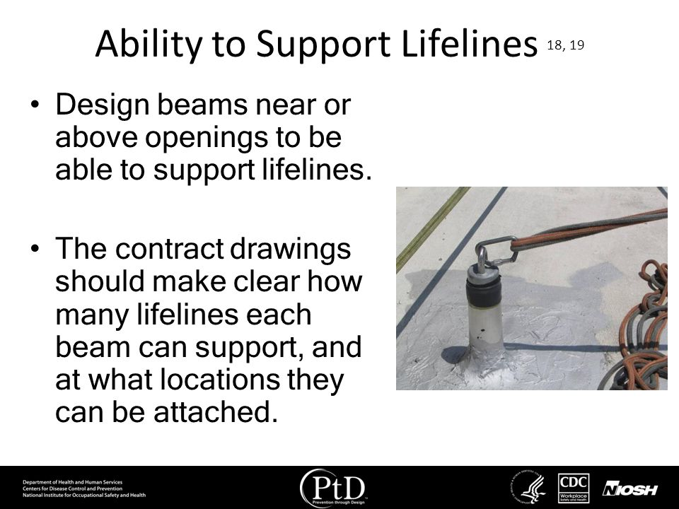Ability to Support Lifelines 18, 19 Design beams near or above openings to be able to support lifelines. The contract drawings should make clear how m