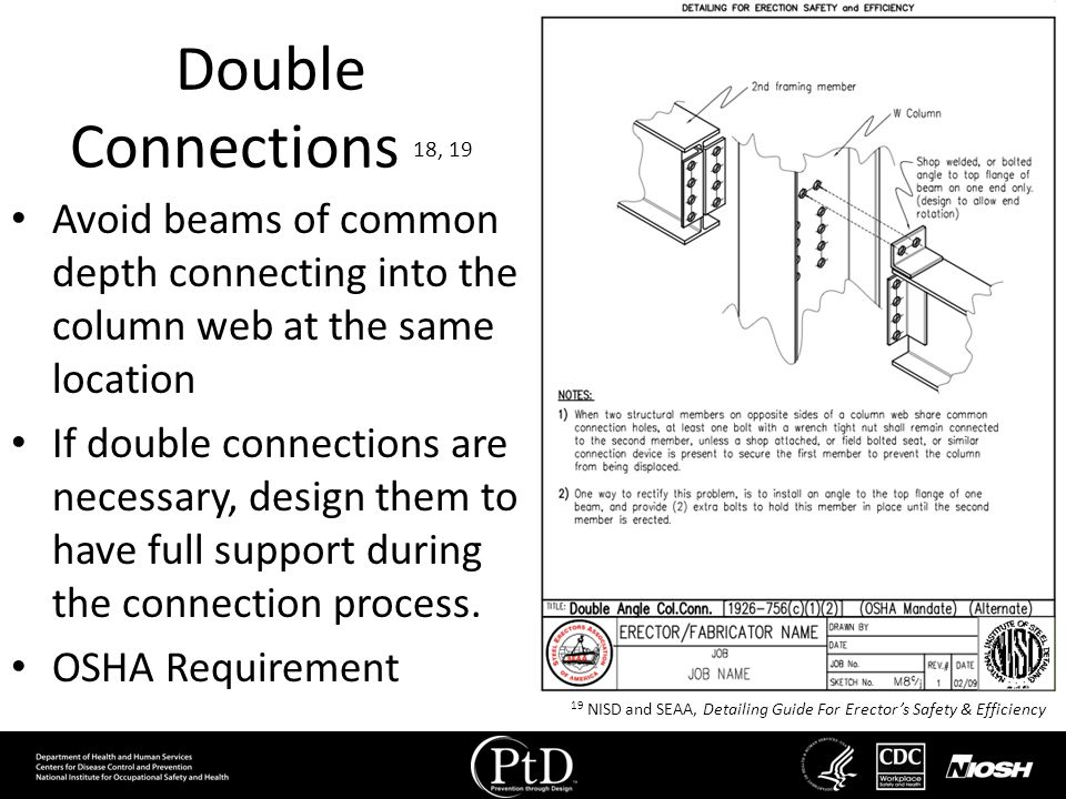 Double Connections 18, 19 Avoid beams of common depth connecting into the column web at the same location If double connections are necessary, design