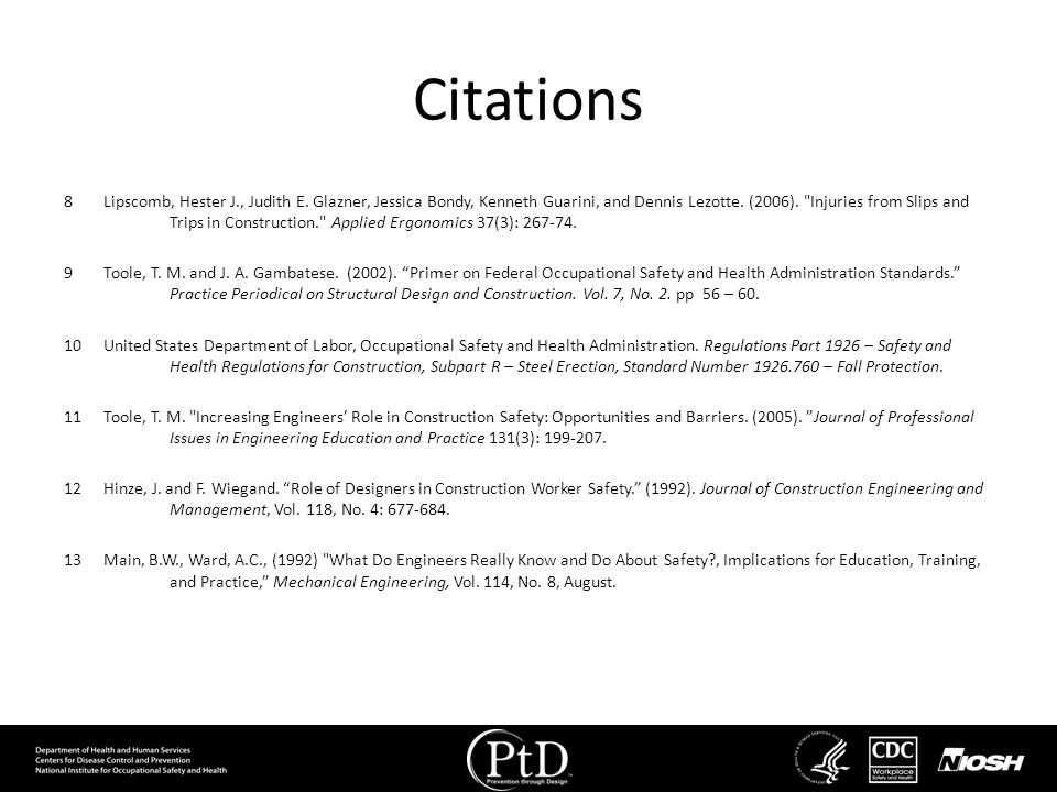 Citations 8Lipscomb, Hester J., Judith E. Glazner, Jessica Bondy, Kenneth Guarini, and Dennis Lezotte. (2006).