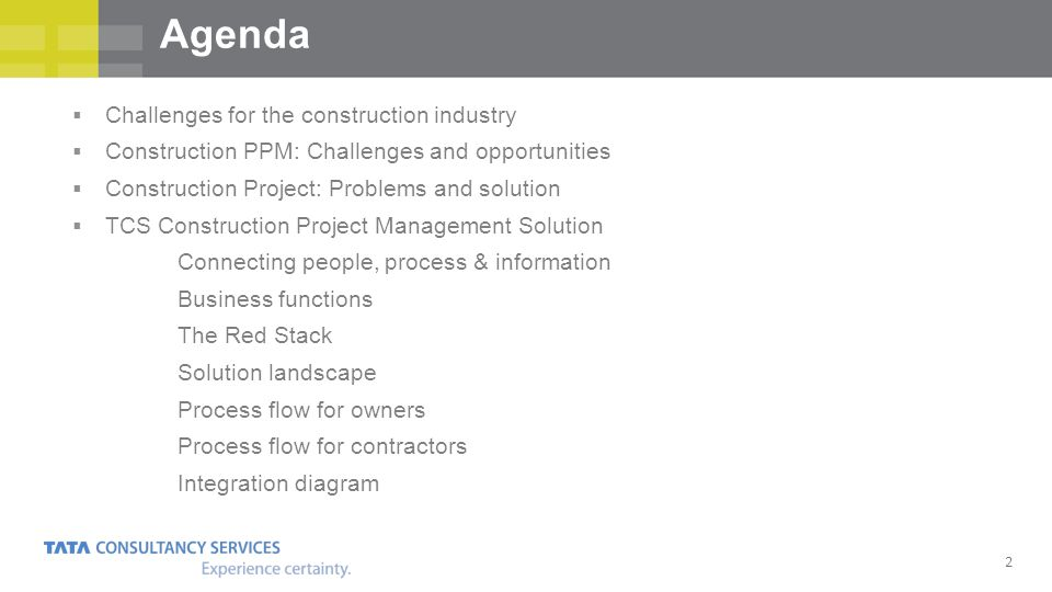 2 Challenges for the construction industry Construction PPM: Challenges and opportunities Construction Project: Problems and solution TCS Construction