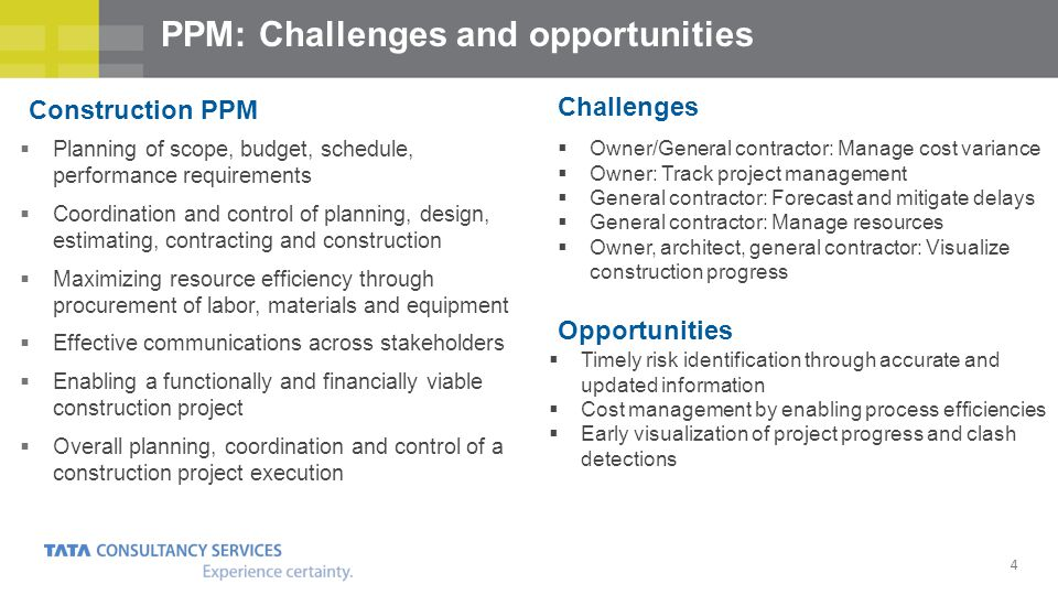 4 PPM: Challenges and opportunities Planning of scope, budget, schedule, performance requirements Coordination and control of planning, design, estima