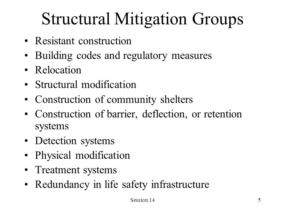 Session 145 Structural Mitigation Groups Resistant construction Building codes and regulatory measures Relocation Structural modification Construction of community shelters Construction of barrier, deflection, or retention systems Detection systems Physical modification Treatment systems Redundancy in life safety infrastructure