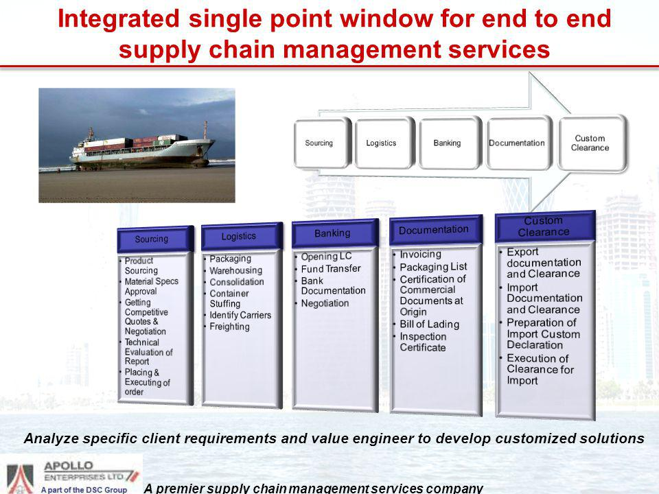 Integrated single point window for end to end supply chain management services Analyze specific client requirements and value engineer to develop cust
