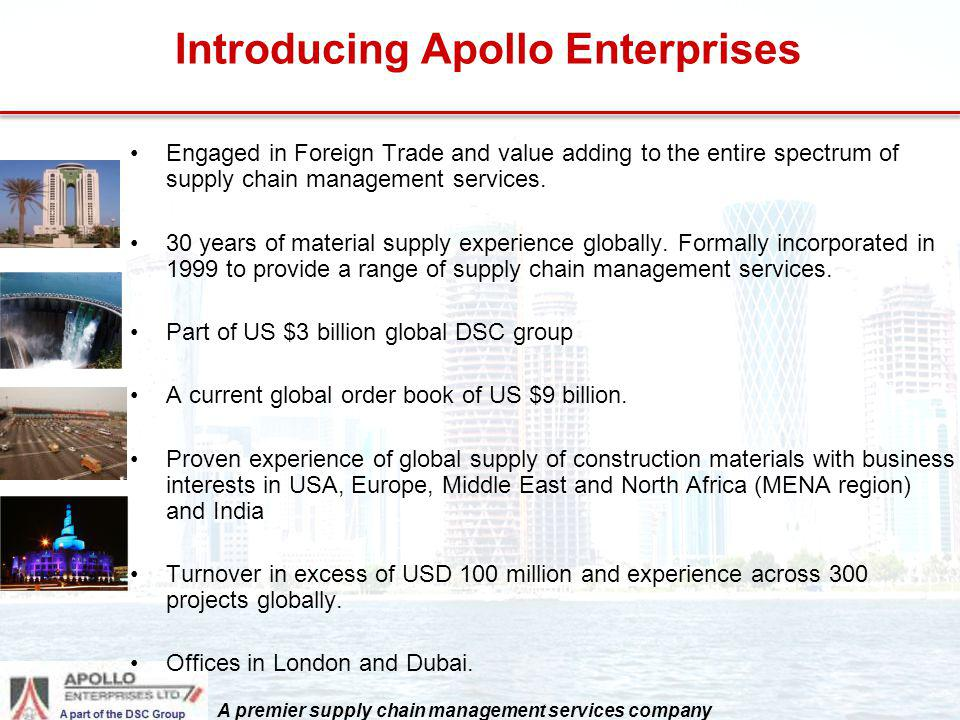 Introducing Apollo Enterprises Engaged in Foreign Trade and value adding to the entire spectrum of supply chain management services. 30 years of mater