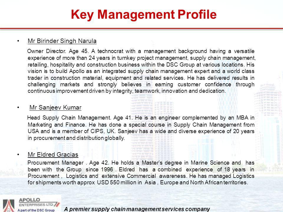 Key Management Profile Mr Birinder Singh Narula Owner Director. Age 45. A technocrat with a management background having a versatile experience of mor