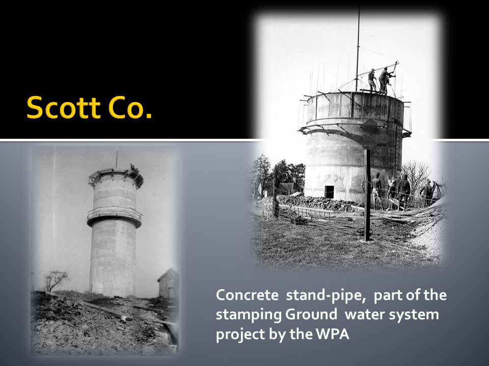 Concrete stand-pipe, part of the stamping Ground water system project by the WPA