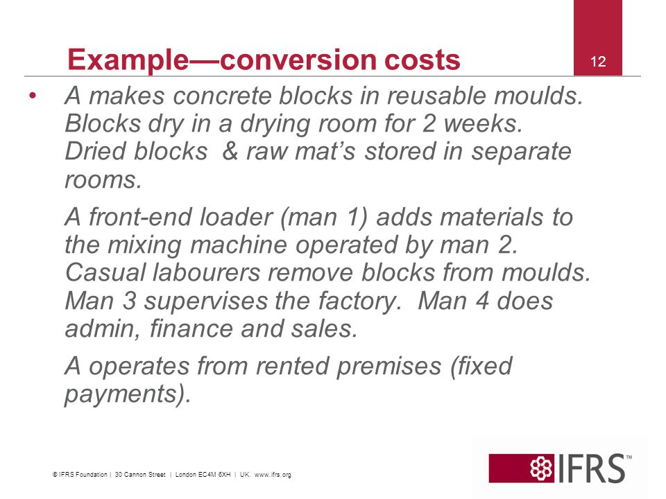 12 Exampleconversion costs A makes concrete blocks in reusable moulds.
