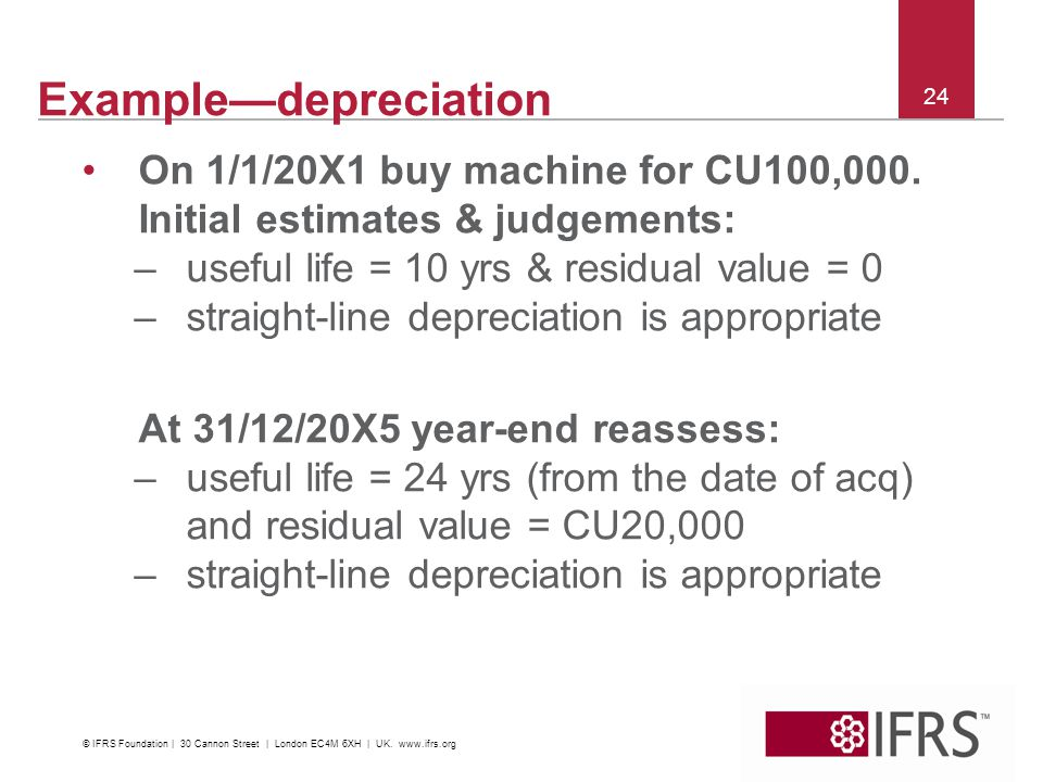 24 Exampledepreciation On 1/1/20X1 buy machine for CU100,000. Initial estimates & judgements: –useful life = 10 yrs & residual value = 0 –straight lin