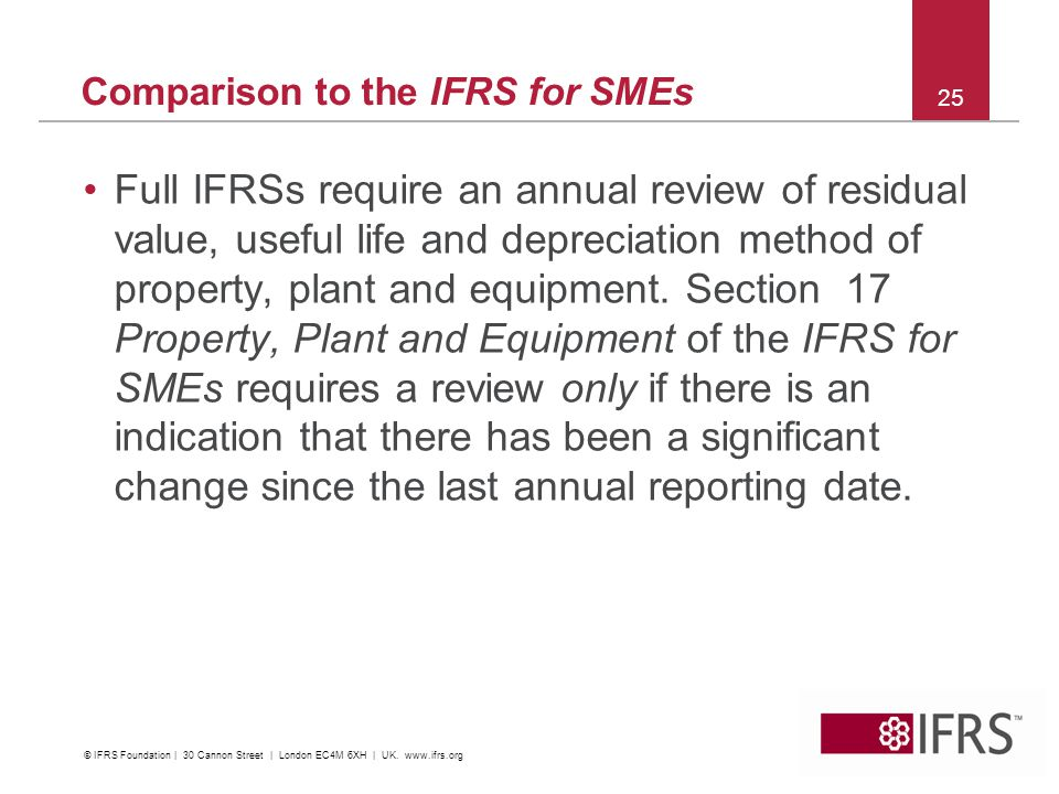 Full IFRSs require an annual review of residual value, useful life and depreciation method of property, plant and equipment.
