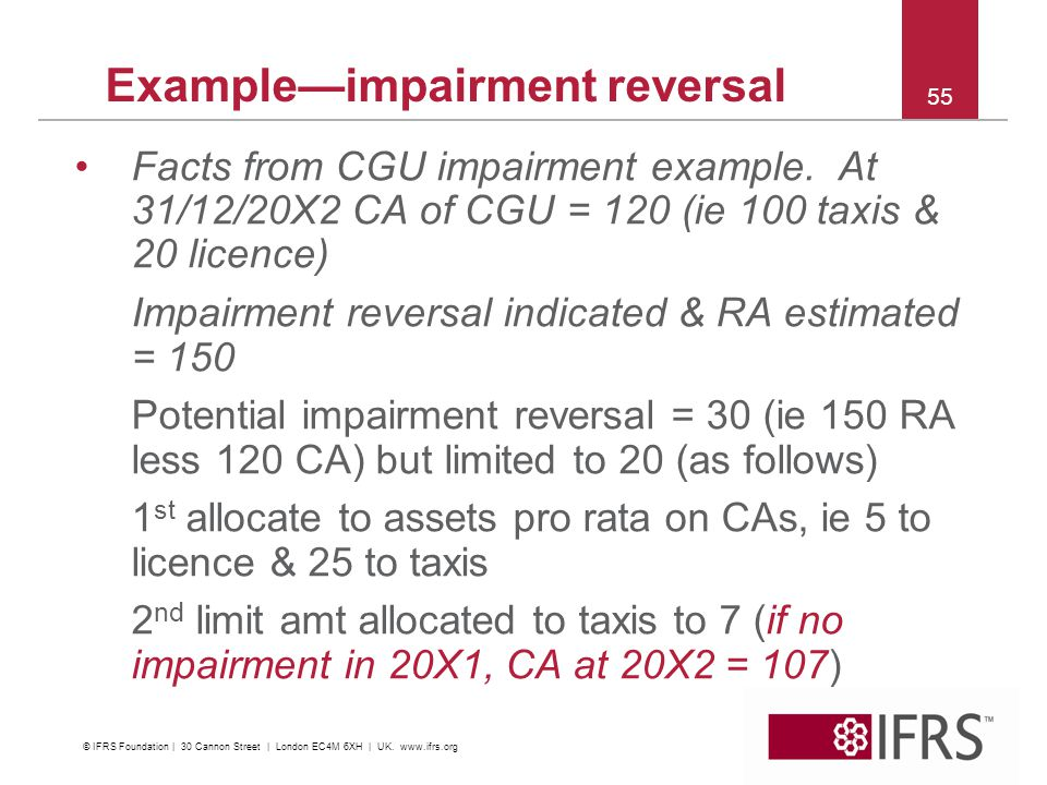 55 Exampleimpairment reversal Facts from CGU impairment example. At 31/12/20X2 CA of CGU = 120 (ie 100 taxis & 20 licence) Impairment reversal indicat