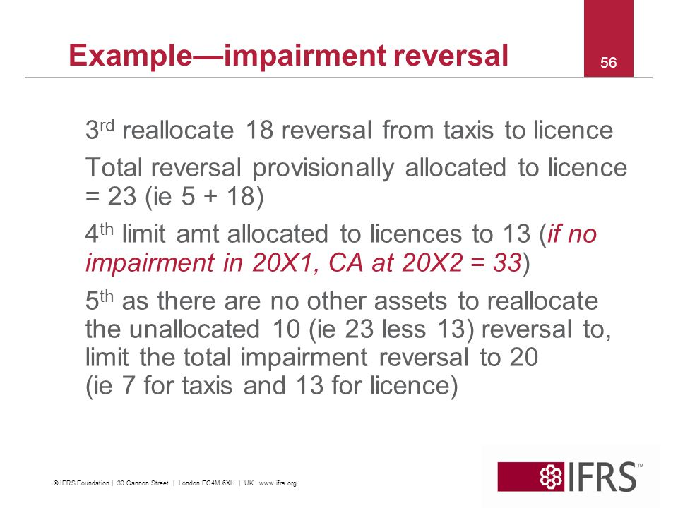 56 Exampleimpairment reversal 3 rd reallocate 18 reversal from taxis to licence Total reversal provisionally allocated to licence = 23 (ie 5 + 18) 4 th limit amt allocated to licences to 13 (if no impairment in 20X1, CA at 20X2 = 33) 5 th as there are no other assets to reallocate the unallocated 10 (ie 23 less 13) reversal to, limit the total impairment reversal to 20 (ie 7 for taxis and 13 for licence) © IFRS Foundation | 30 Cannon Street | London EC4M 6XH | UK.