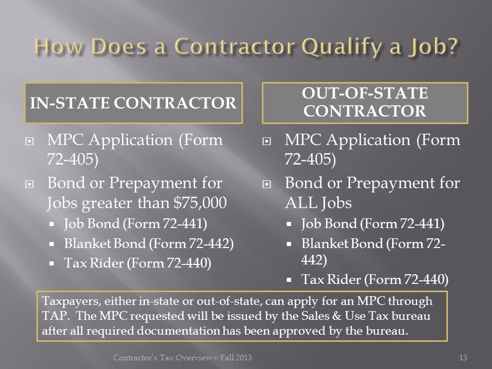 IN-STATE CONTRACTOR OUT-OF-STATE CONTRACTOR MPC Application (Form 72-405) Bond or Prepayment for Jobs greater than $75,000 Job Bond (Form 72-441) Blan