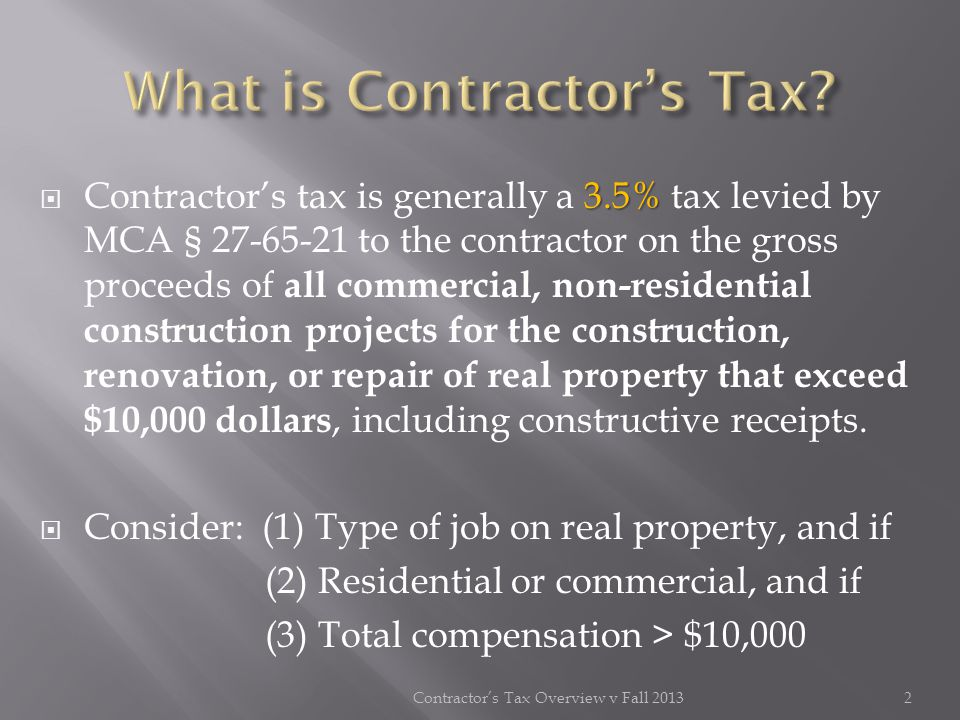 IN-STATE CONTRACTOR OUT-OF-STATE CONTRACTOR MPC Application (Form 72-405) Bond or Prepayment for Jobs greater than $75,000 Job Bond (Form 72-441) Blanket Bond (Form 72-442) Tax Rider (Form 72-440) MPC Application (Form 72-405) Bond or Prepayment for ALL Jobs Job Bond (Form 72-441) Blanket Bond (Form 72- 442) Tax Rider (Form 72-440) 13Contractors Tax Overview v Fall 2013 Taxpayers, either in-state or out-of-state, can apply for an MPC through TAP.