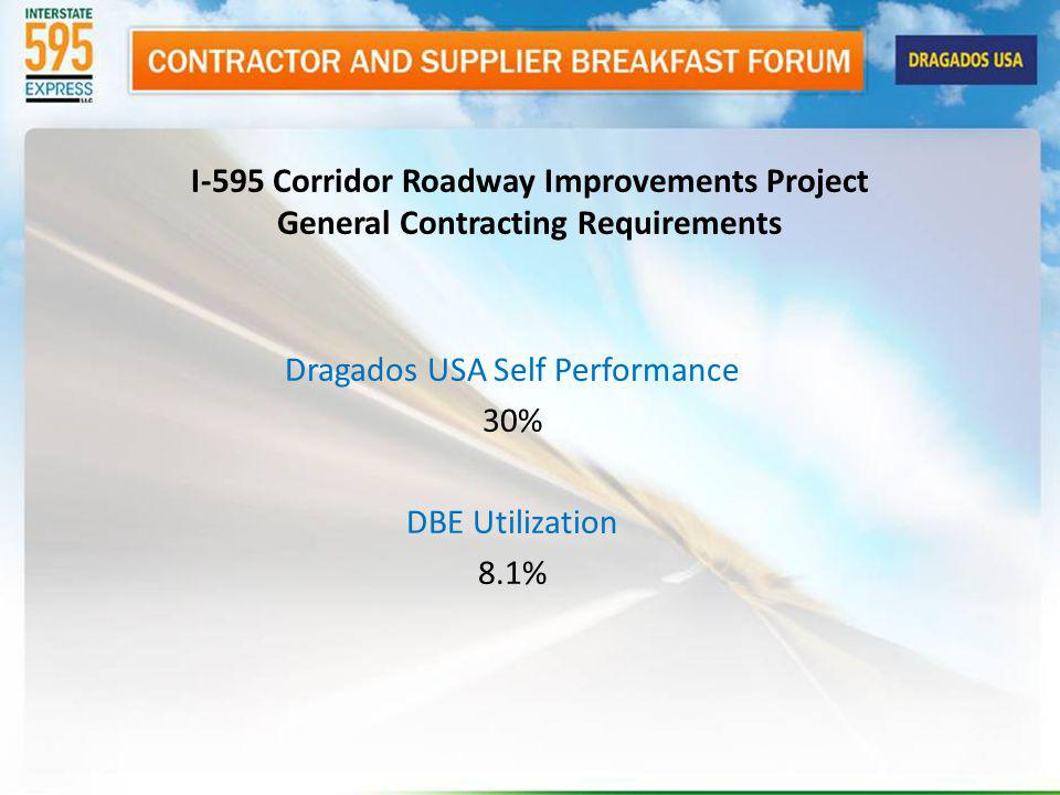 Dragados USA Self Performance 30% DBE Utilization 8.1% I-595 Corridor Roadway Improvements Project General Contracting Requirements